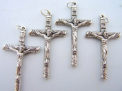 Silver Gild Cross Rosary Parts Wooden Styled Religious Christian Crucifix LOT 4