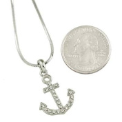 Silver Tone Clear Crystals Anchor Charm Pendant Necklace