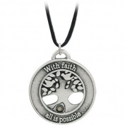 Tree and Mustard Seed Pendant - Faith Moves Mountains - 55.9cm Black Cord