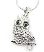Adorable Silvertone Owl Crystal Pendant Necklace Fashion Jewellery