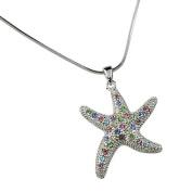 Silvertone Multi Coloured Rhinestone Starfish Charm Pendant Necklace Fashion Jewellery