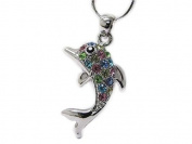 Multi colour Crystal Stud Dolphin Pendant Necklace
