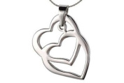 Overlapping Open Heart Double heart pendant charm necklace with floating heart design.
