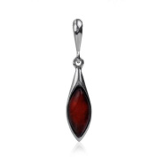 Sterling Silver Red Dark Amber Small Drop Pendant