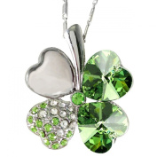 18K Gold Plated. Elements Crystal Four Leaf Clover Pendant Necklace (Peridot Green), 45.7cm