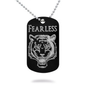 Tiger Design Aluminium Dog Tag with Stainless Steel Bead Chain Necklace
