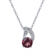 Garnet Pendant In Sterling Silver With 45.7cm Chain