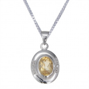 1.60 CT Oval Shape Citrine & Diamond Pendant in Sterling Silver with 45.7cm Chain