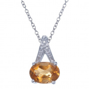 Citrine Pendant In Sterling Silver With 45.7cm Chain