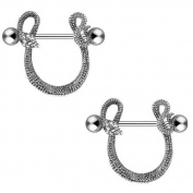 Body AccentzTM Nipple Ring Bars Shield Entwined Snake Body Jewellery Pair 14 gauge