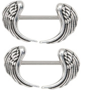Body Accentz Nipple Ring Angel Wings bar body Jewellery sold as Pair 14g 1.3cm