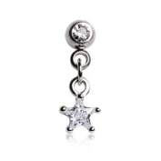 Chained Clear Gem Star & Round Gem Barbell Tragus Cartilage Dangle Ring Steel Piercing Bar 16G 0.6cm
