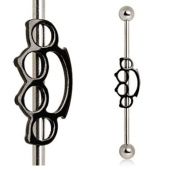 Stainless Steel Silver & Black Brass Knuckles Industrial Barbell Straight Ear Piercing Bar 14G 3.8cm