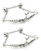 """Body Accentz Nipple Ring Bars Sparrow 14g 5/8"""" Barbell and both balls are 5mm Body Jewellery Shield 14 gauge sold as pair"""