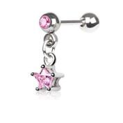 Chained Pink Gem Star & Round Gem Barbell Tragus Cartilage Dangle Ring Steel Piercing Bar 16G 0.6cm