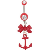 Gem Navel Barbell with Bow and Anchor Dangle