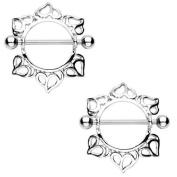 Body Accentz. Nipple Ring Bars Heart Body Jewellery Pair 14 gauge Sold as pair HO500