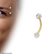 Gold Colour Titanium Curved Eyebrow Ring with Clear Cz Gems