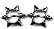 Body AccentzTM Nipple Ring Bars Spike Body Jewellery Pair 14 gauge