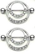 Body Accentz. Nipple Ring Bars Shield Eternity Circle of Love Body Jewellery Pair 14 gauge Sold as pair