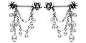 Body Accentz Nipple Ring Bars Beaded Body Jewellery Pair 14 gauge HO142