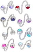 Belly Button Ring Lot of 5 Double Gem Twister Navel Ring 14g