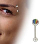 Rainbow Logo Barbell Eyebrow Ring