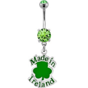 "316L Surgical Steel Prong Set Belly Ring with Made In Ireland Shamrock -14g (1.6mm), 3/8"" Length - Sold Individually"