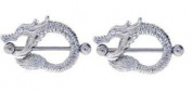 Body Accentz. Nipple Ring Bars Dragon Body Jewellery Pair 14 gauge Pair Sold as pair