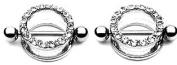 Body AccentzTM Nipple Ring Bars CZ Circle of Love Body Jewellery Pair 14 gauge