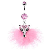 "316L Surgical Steel Multi Paved Pink Gem Furry Fox Navel Ring -14G (1.6mm), 3/8"" Length -Sold Individually"
