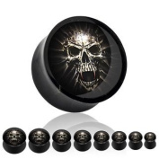 Black Acrylic Double Flare Plug with a Mummy Skull Picture Insert - 00G (10mm) - Sold as a Pair
