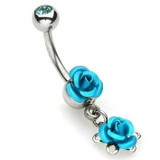 Double Blue Rose Navel Ring with Gem Ball - Rose Belly Ring Body Jewellery