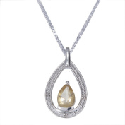"""10x7mm 1.70 CT Pear Shape Citrine & Diamond Pendant in Sterling Silver with 18"""" Chain"""