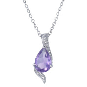 Amethyst Pendant In Sterling Silver With 45.7cm Chain