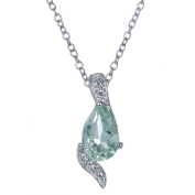 Green Amethyst Pendant In Sterling Silver With 45.7cm Chain
