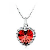 LOCOMO Women Pendant Charm Chain Necklace Mini Titanic Heart Of Ocean Bling Rhinestone Crystal Blue Stone JNK059BLU
