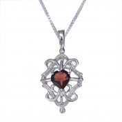 """7mm 1.30 CT Garnet Heart Pendant In Sterling Silver with 18"""" Chain"""