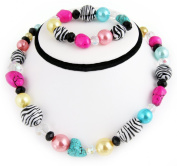 Turquoise & Assorted Beads Collar Necklace and Bracelet Set