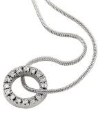 Rhodiumized Clear Rhinestone Circle Pendant Necklace