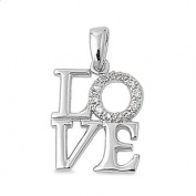 Love Word in Block Pendant Cubic Zirconia Sterling Silver 925