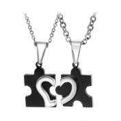 Geminis New Fashion Black Love Puzzle 316 L Stainless Steel Titanium Couple Pendant Necklaces(one Pair) Best Gift!