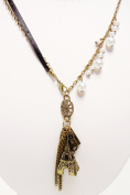 Necklace - Retro Bronze & Pearl Eiffel Tower - Kiki's Le Paris