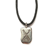 Rune Geba Pewter Pendant on Corded Necklace, Ancient Runes Collection