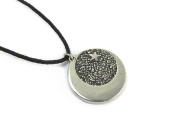 Star Dogged Moon for Properity and Abundance Amulet Pewter Pendant with Cord Necklace