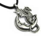 Midnight Dragon Pewter Pendant On Corded Necklace, The Celestial Collection