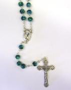 6MM GREEN SWIRL RosaryED Necklace Catholic Christian Religious Cross Crucifix