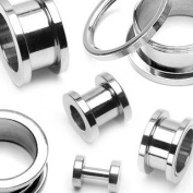316L Surgical Stainless Steel Screw Fit Flesh Tunnels - 14G (1.6mm) - Sold as a Pair