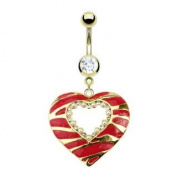 Gold Surgical Steel Red Striped Heart Navel Ring - Multi CZ & Pearl Belly Ring