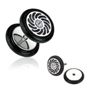 316L Surgical Steel Swirl Casted CZ Fake Plug with O-Rings - 16G - Sold as a Pair